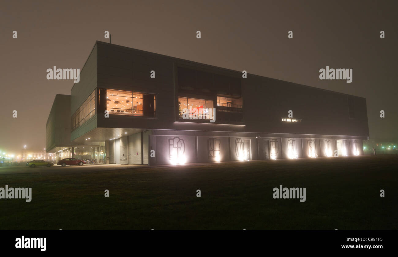 The Oulu, Finland theater at night. - Stock Image