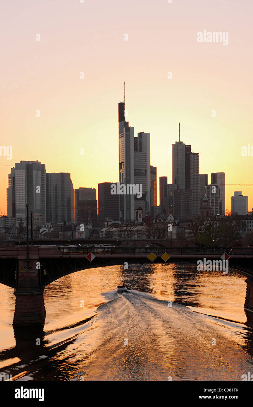 Skyline, financial district against the light, Frankfurt am Main, Hesse, Germany, Europe - Stock Image