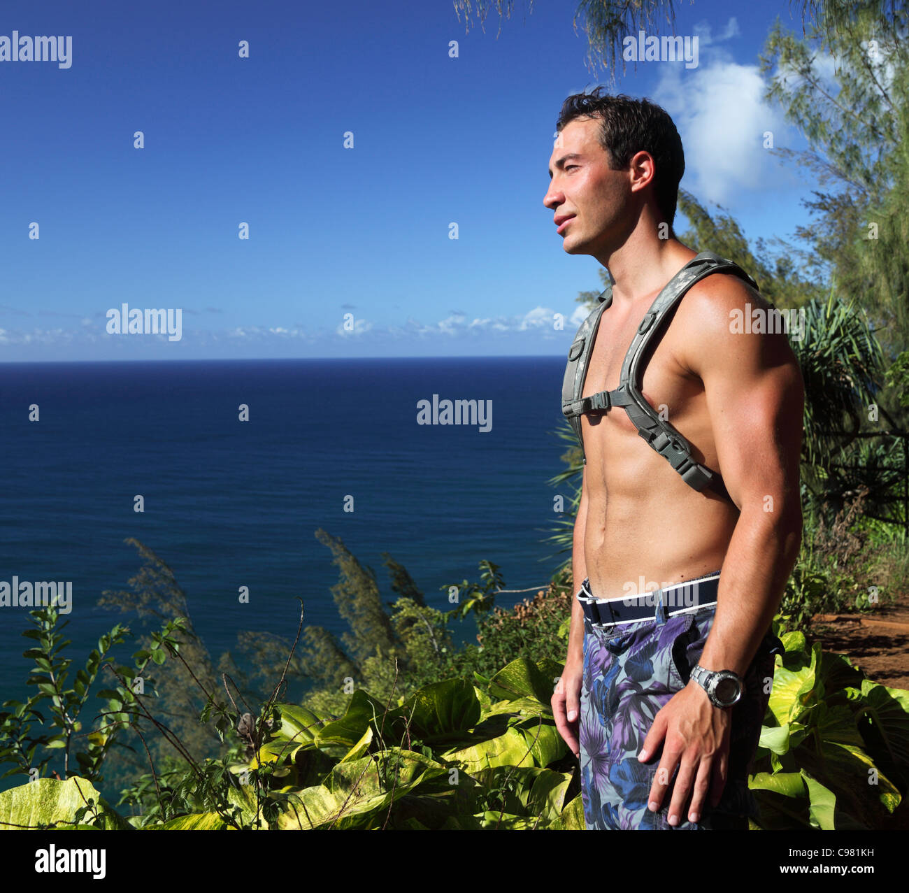 Hiker on the Kalalau Trail on Kauai gazes at ocean - Stock Image