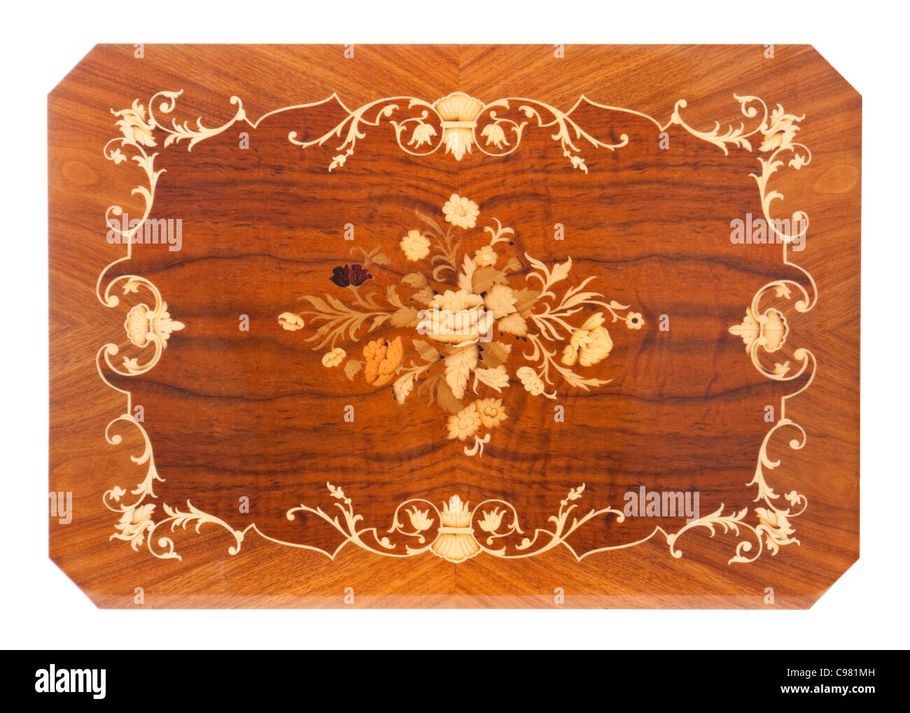 Italian coffee table top with inlaid design - Stock Image