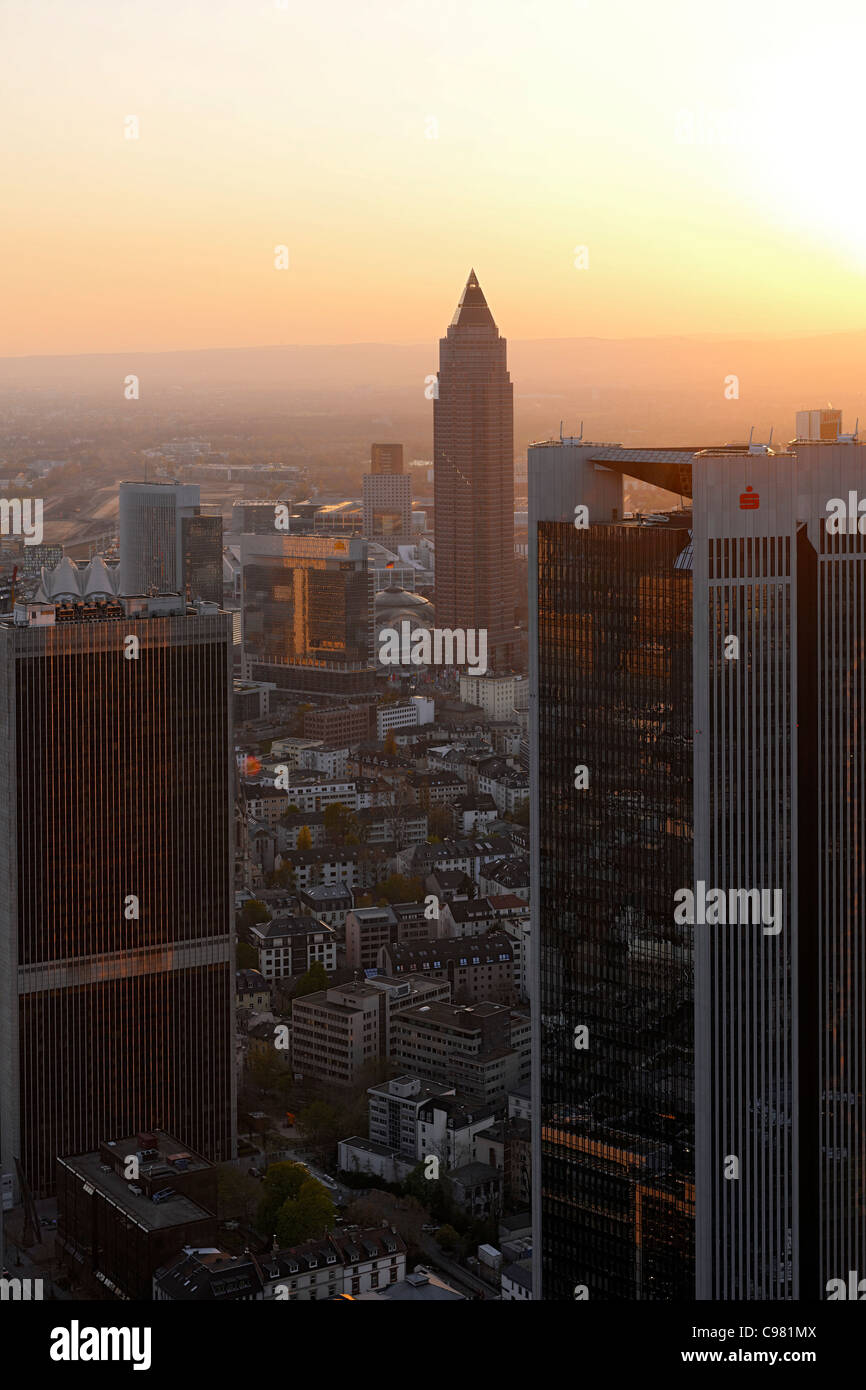 Panoramic view of the financial district skyline at sunset, Frankfurt am Main, Hesse, Germany, Europe - Stock Image