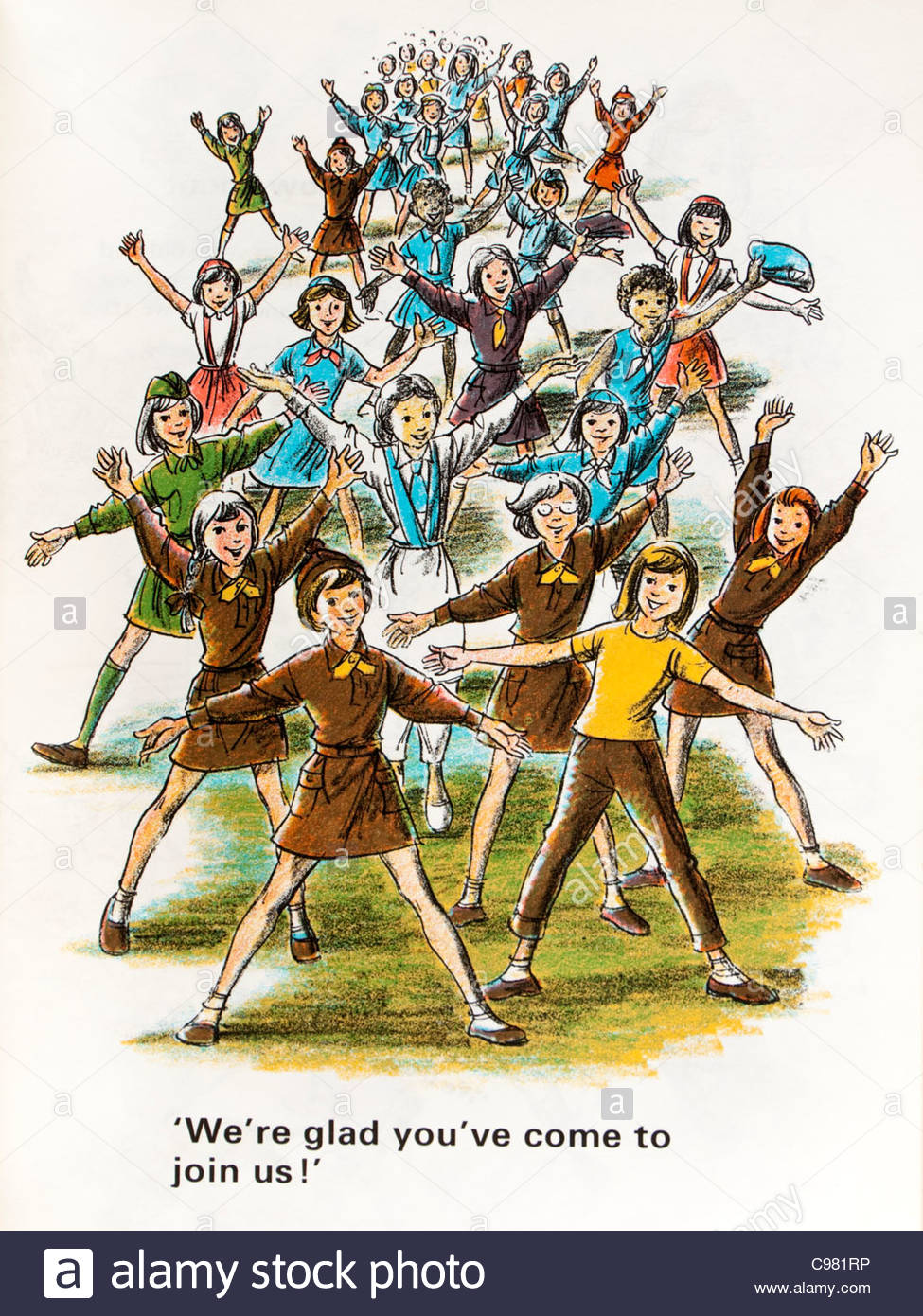 Illustration from the Brownie Guide Handbook, published by the Girl Guides Association (1975) - Stock Image
