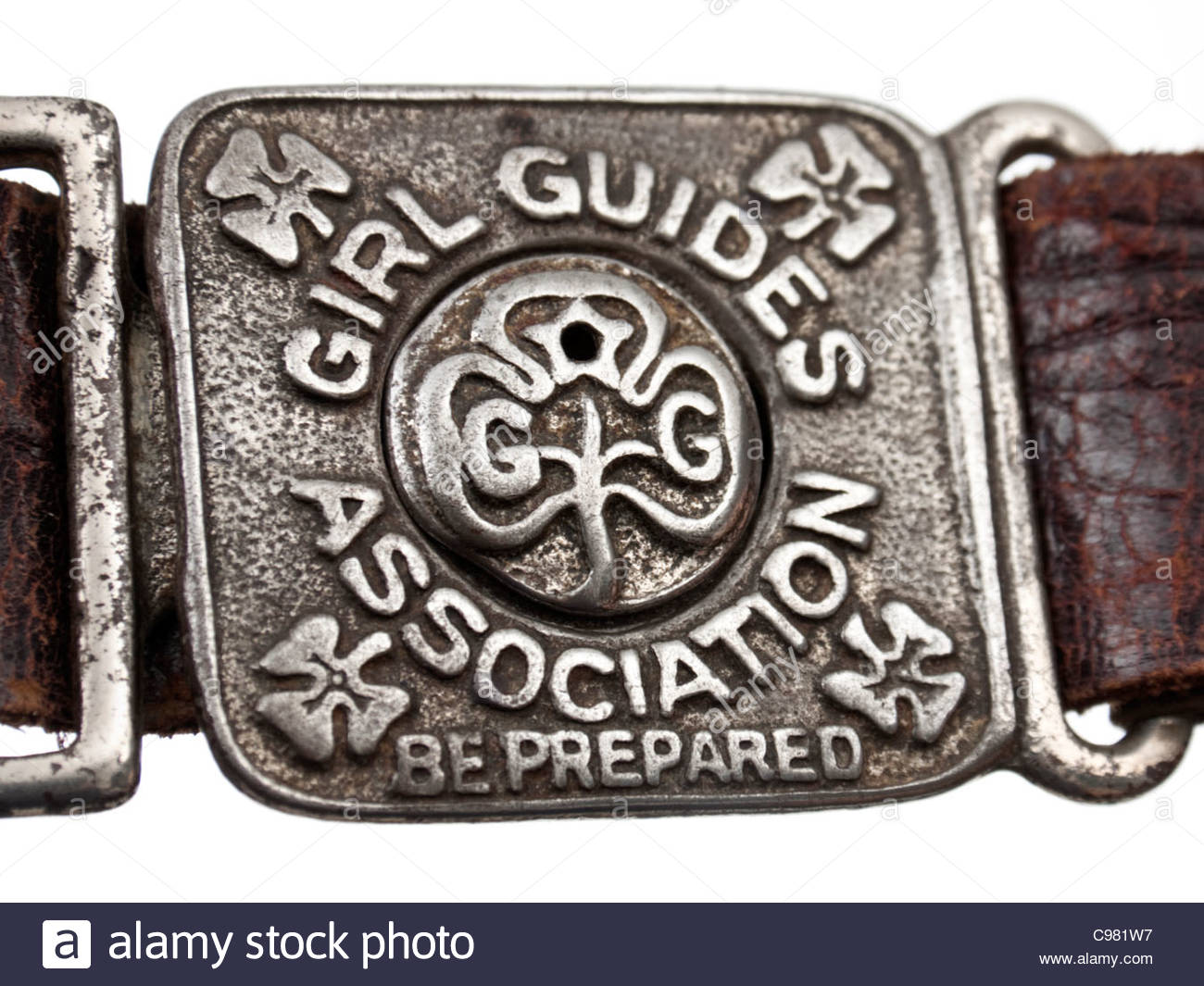 Vintage Girl Guides Association leather belt with buckle showing their motto 'Be Prepared' - Stock Image