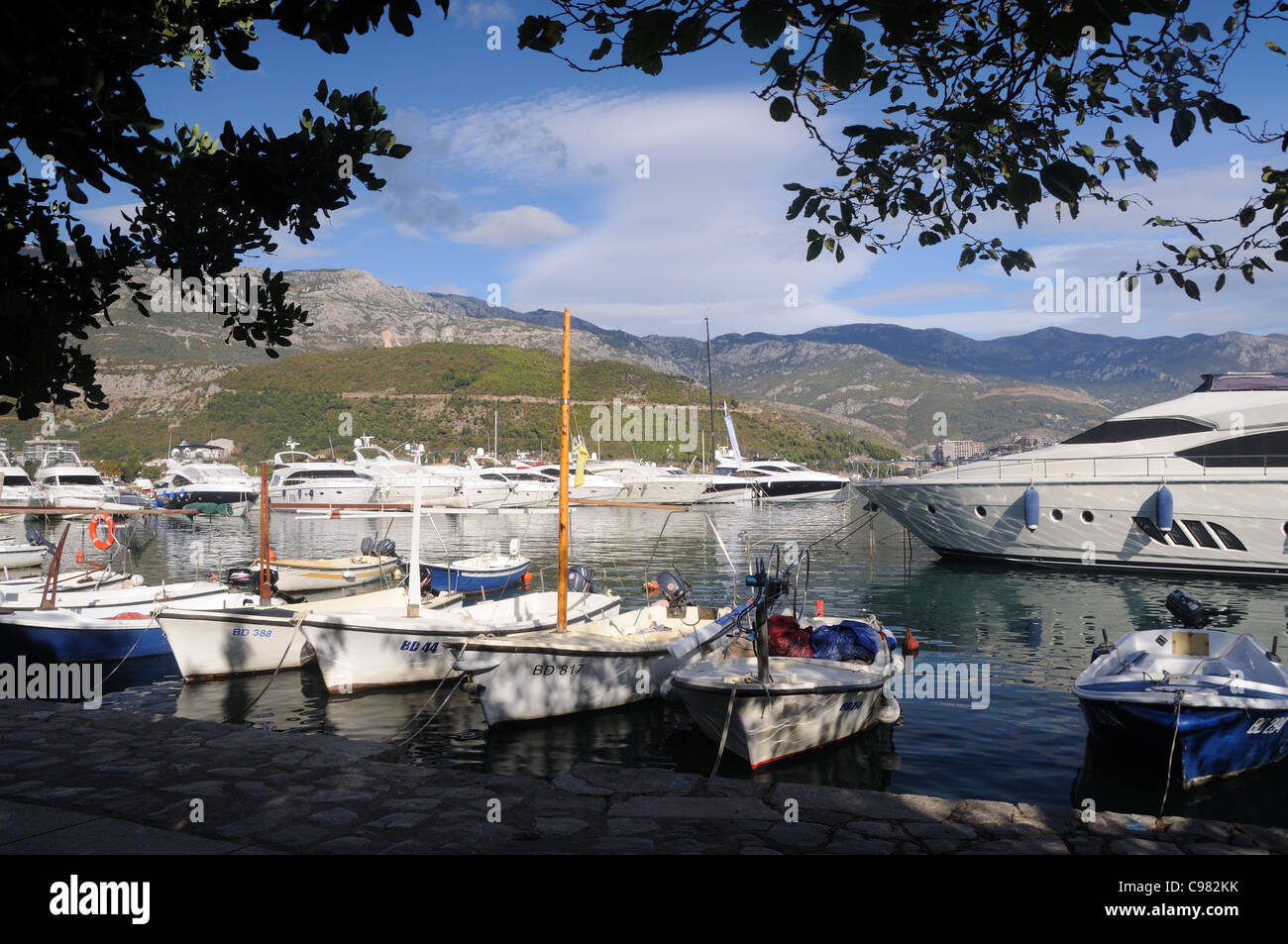 The marina in Budva, Montenegro Stock Photo