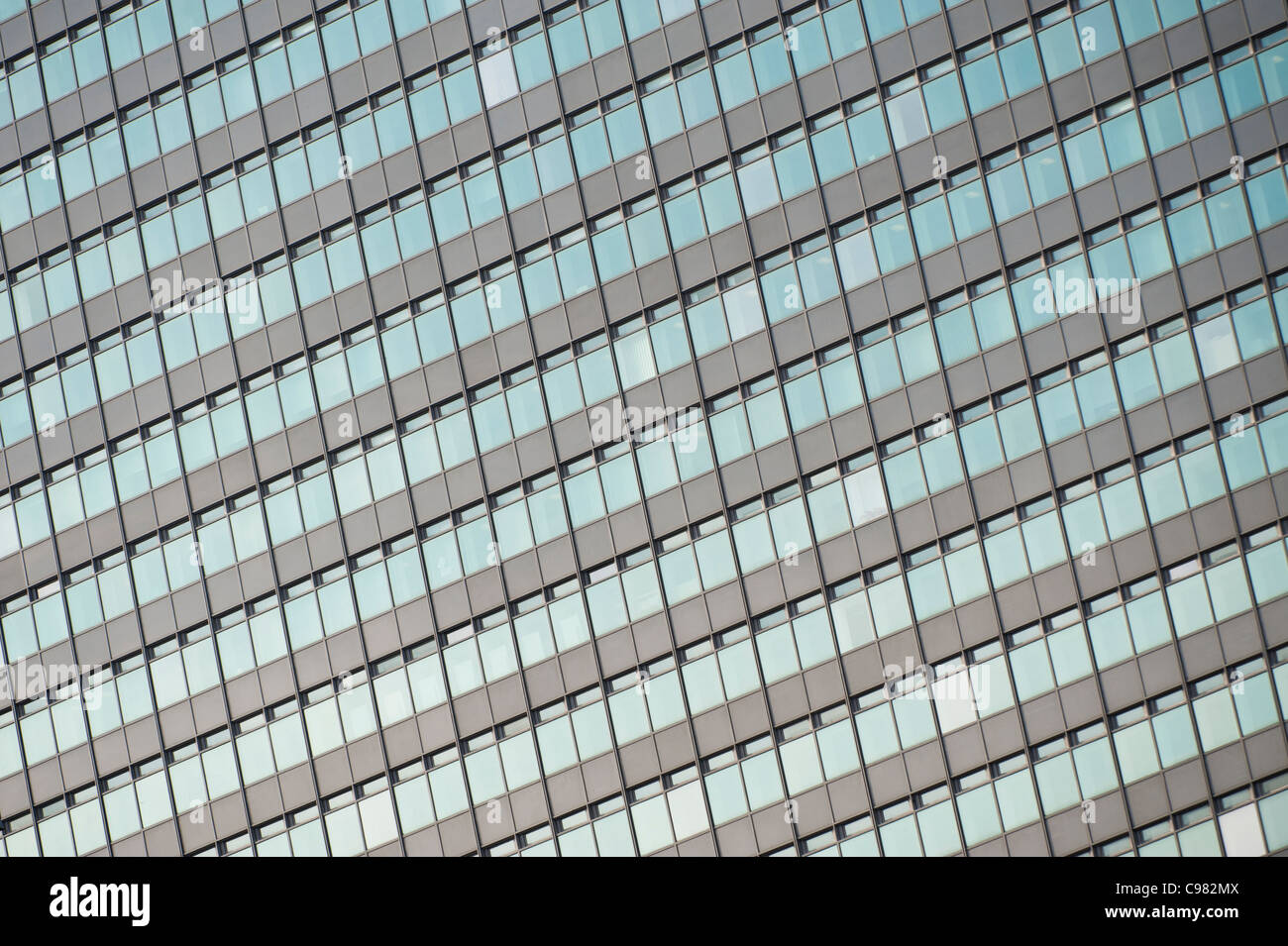 A close up of grid windows of City Tower Piccadilly, Manchester. - Stock Image