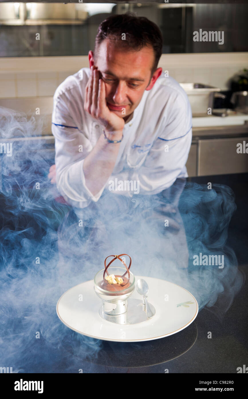 Jean-Michel Maniere, head pastry chef of the 'Saint Martin restaurant'., CHATEAU SAINT-MARTIN & SPA - Stock Image