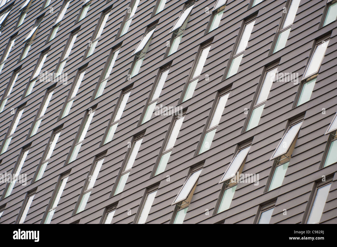 A diagonal shot of the grid rooms at a Univeristy of Manchester halls of residence student accommodation (Editorial - Stock Image
