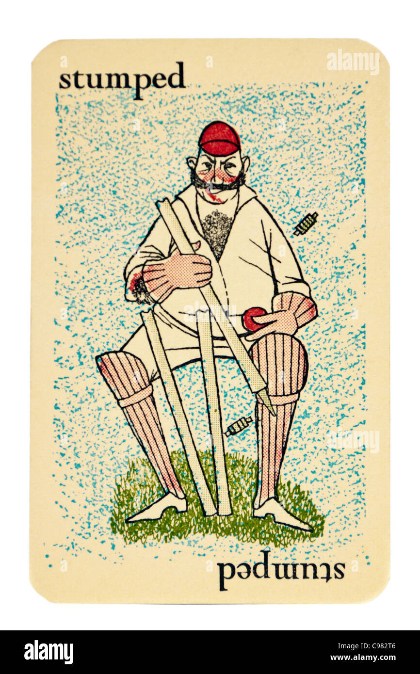 Example card from vintage 1930's 'Googly' cricket card game by Smith & Hallam Ltd, 52 Bedford Row, - Stock Image