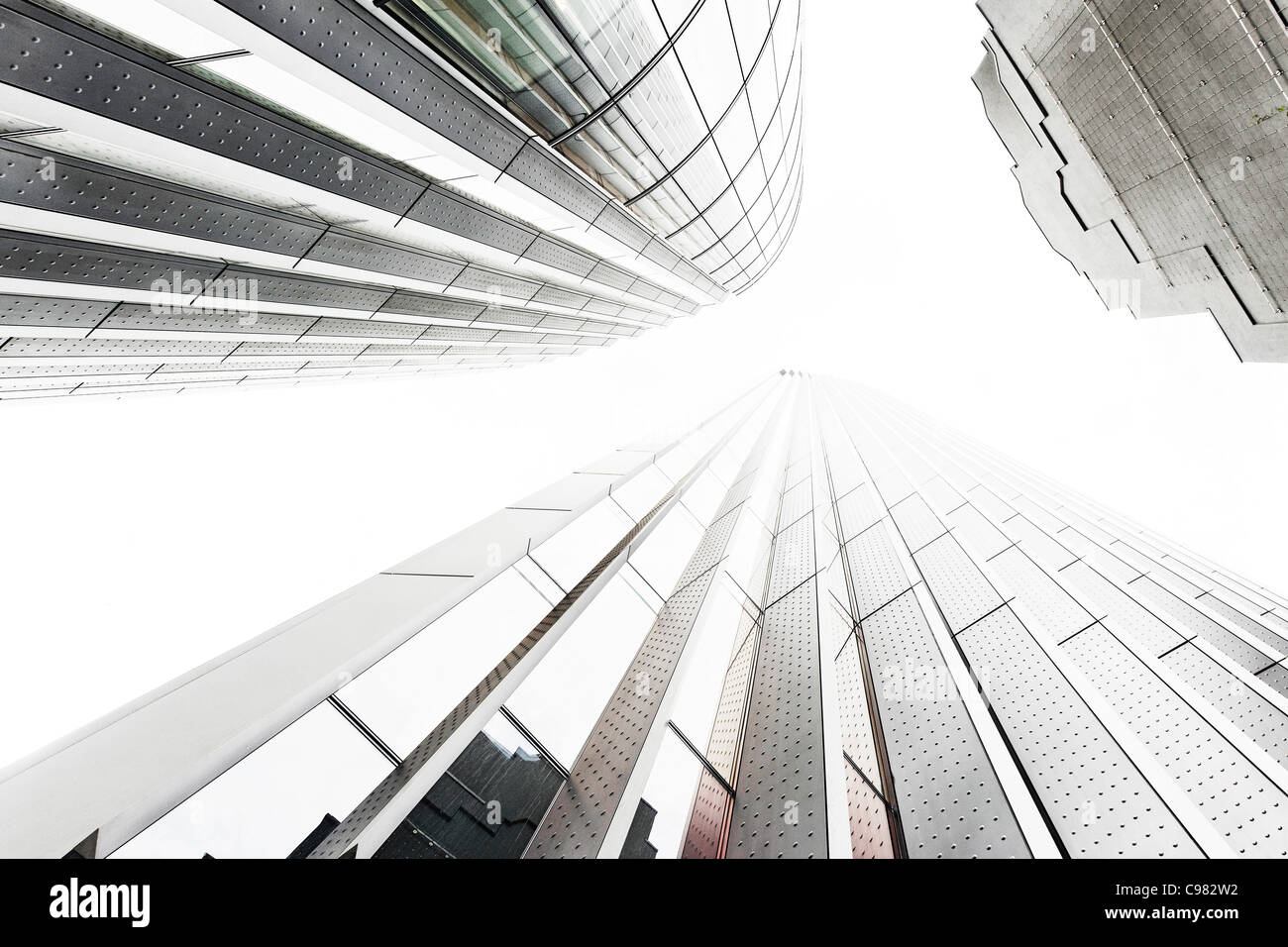 Towers, Skyscrapers, Exterior worms-eye view, City of London, England, United Kingdom, UK, Europe - Stock Image
