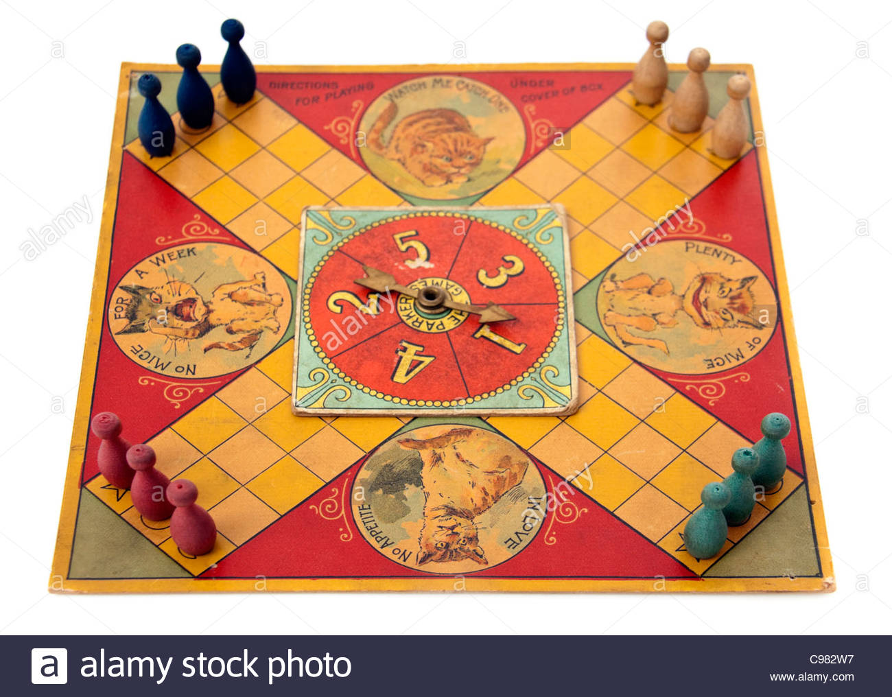 Rare antique (1895) 'Puss in the Corner' board game by Parker Brothers, Salem, Massachusetts, USA - Stock Image