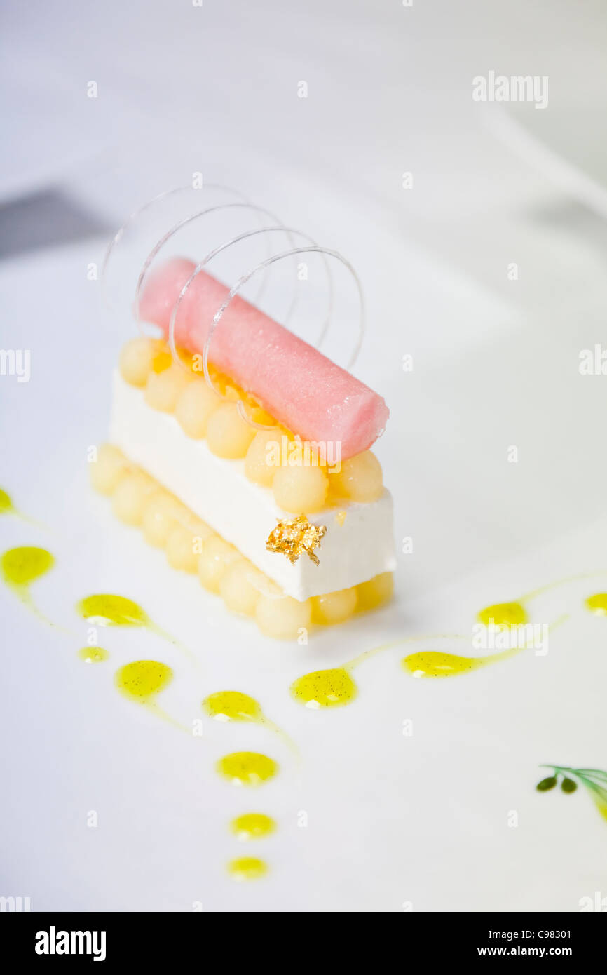 One dessert finalized., CHATEAU SAINT-MARTIN & SPA - 2490 Avenue des Templiers - BP 102 - 06142 VENCE CEDEX - Stock Image