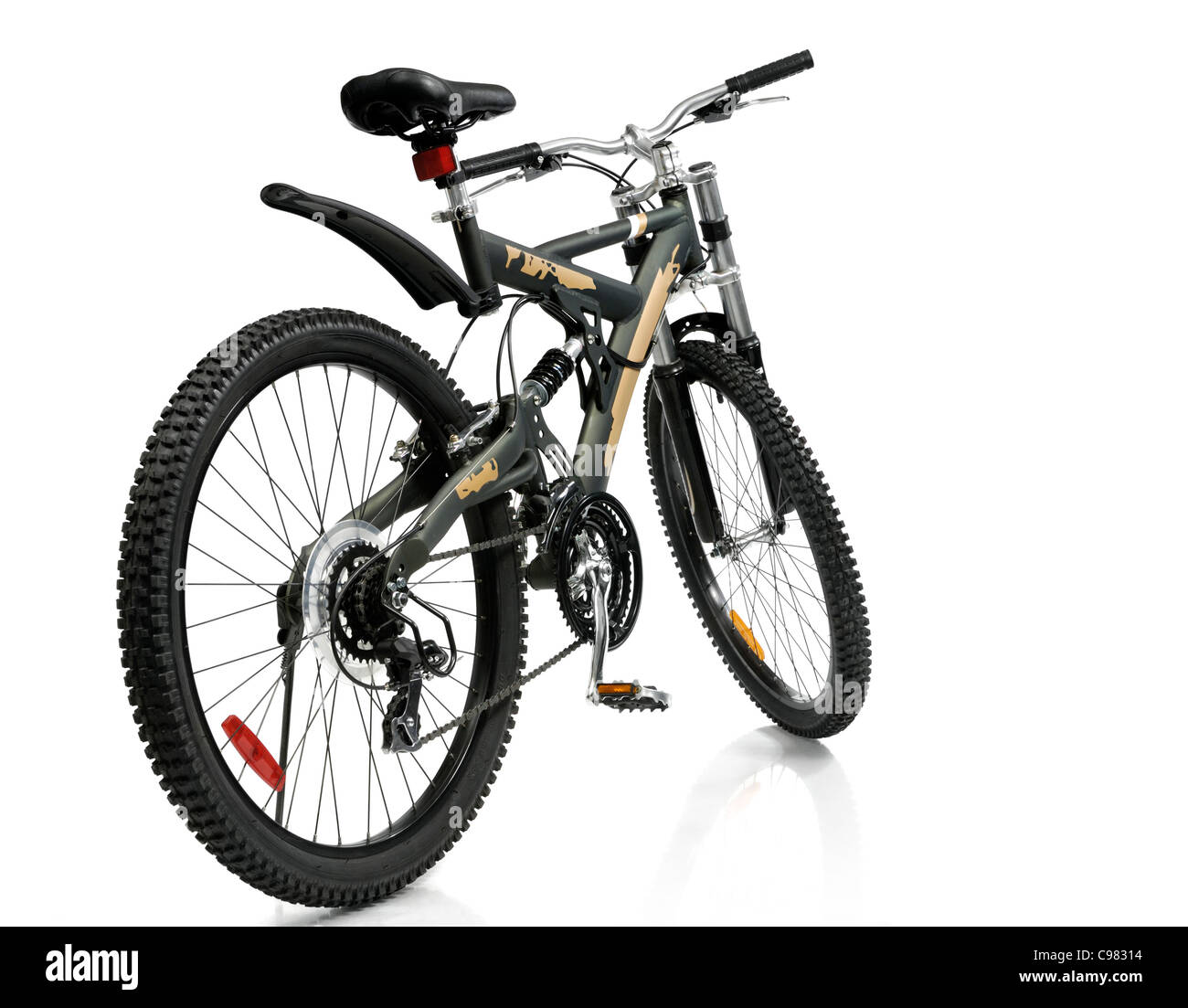 MTB sport 21-speed dual suspension mountain bicycle Isolated on white background - Stock Image