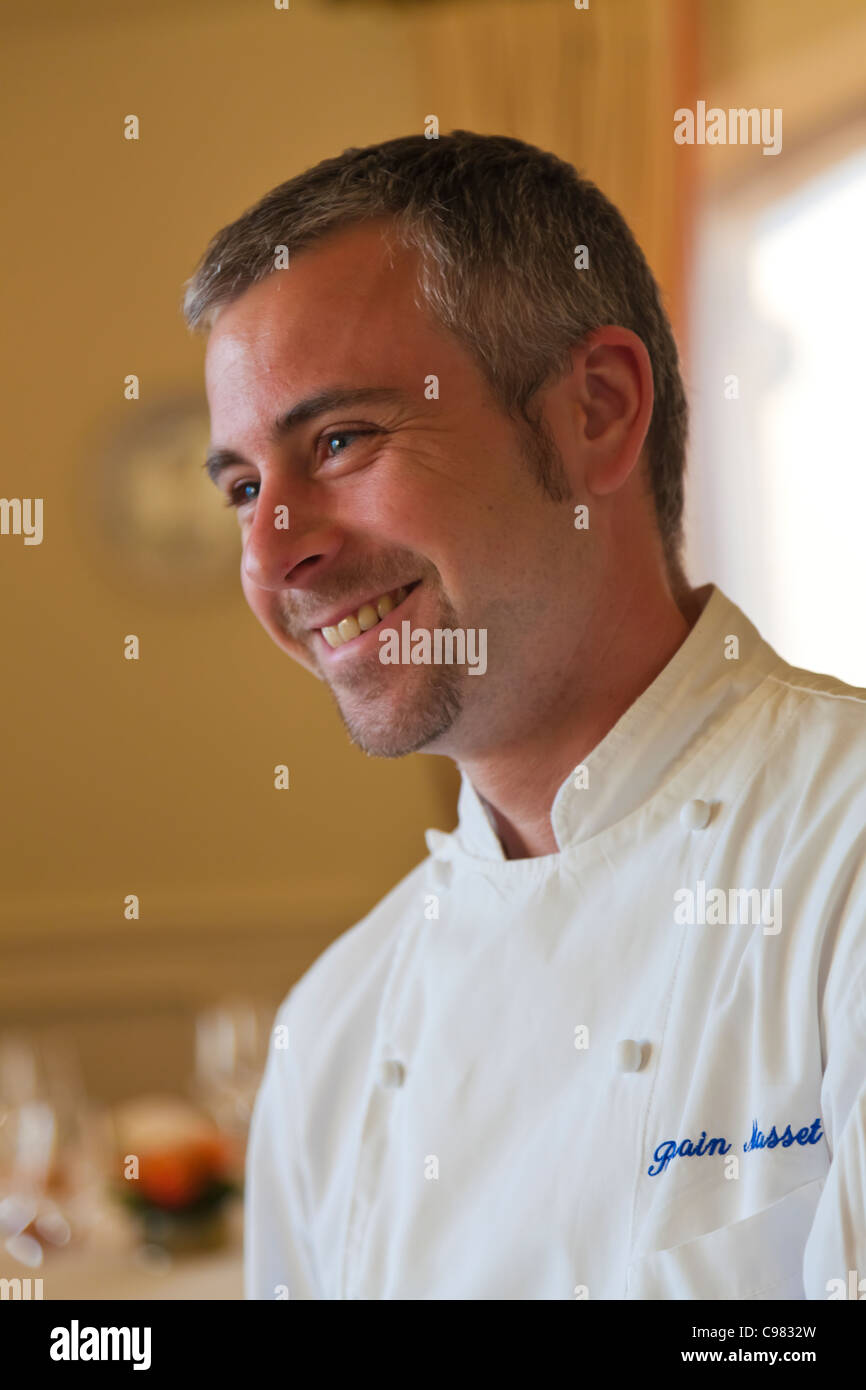 Portrait of the 'sous-chef' (under-chef of the kitchen) Romain Masset., CHATEAU SAINT-MARTIN & SPA  - Stock Image