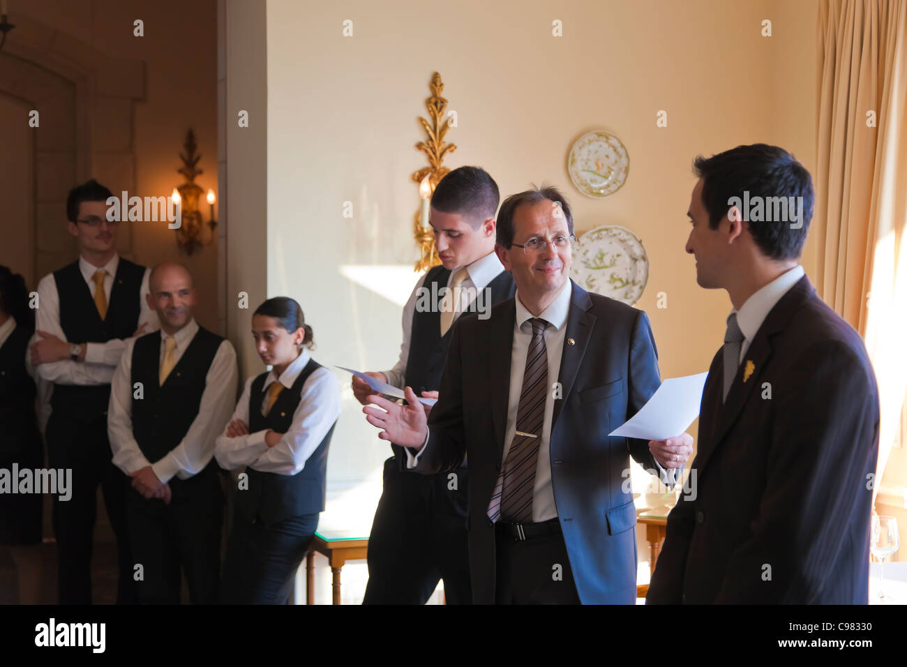 Meeting between the brigade system and the rest of the Staff., CHATEAU SAINT-MARTIN & SPA - 2490 Avenue des - Stock Image