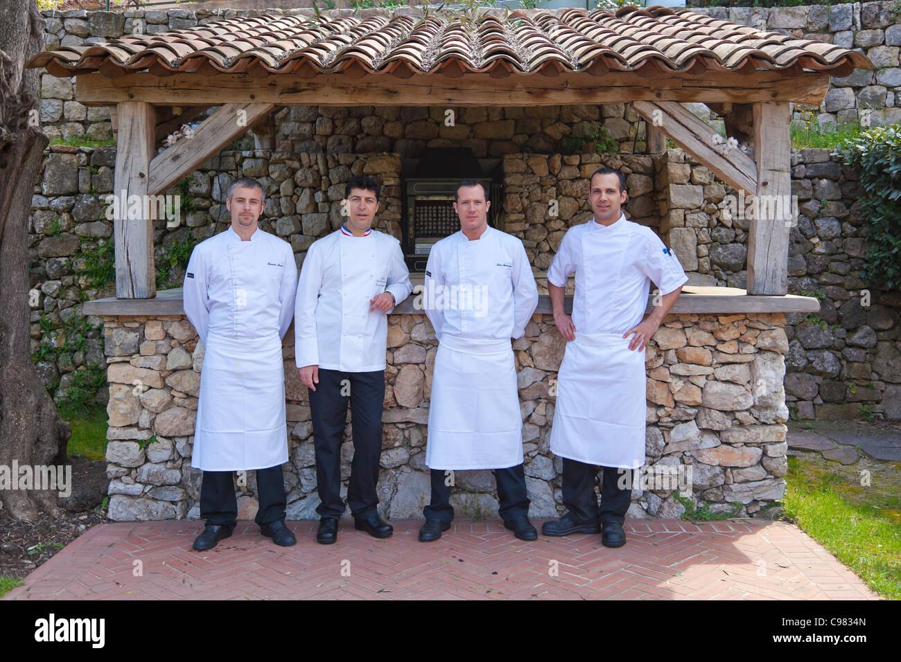 The chef Yannick Franques and his brigad., CHATEAU SAINT-MARTIN & SPA - 2490 Avenue des Templiers - BP 102  - Stock Image