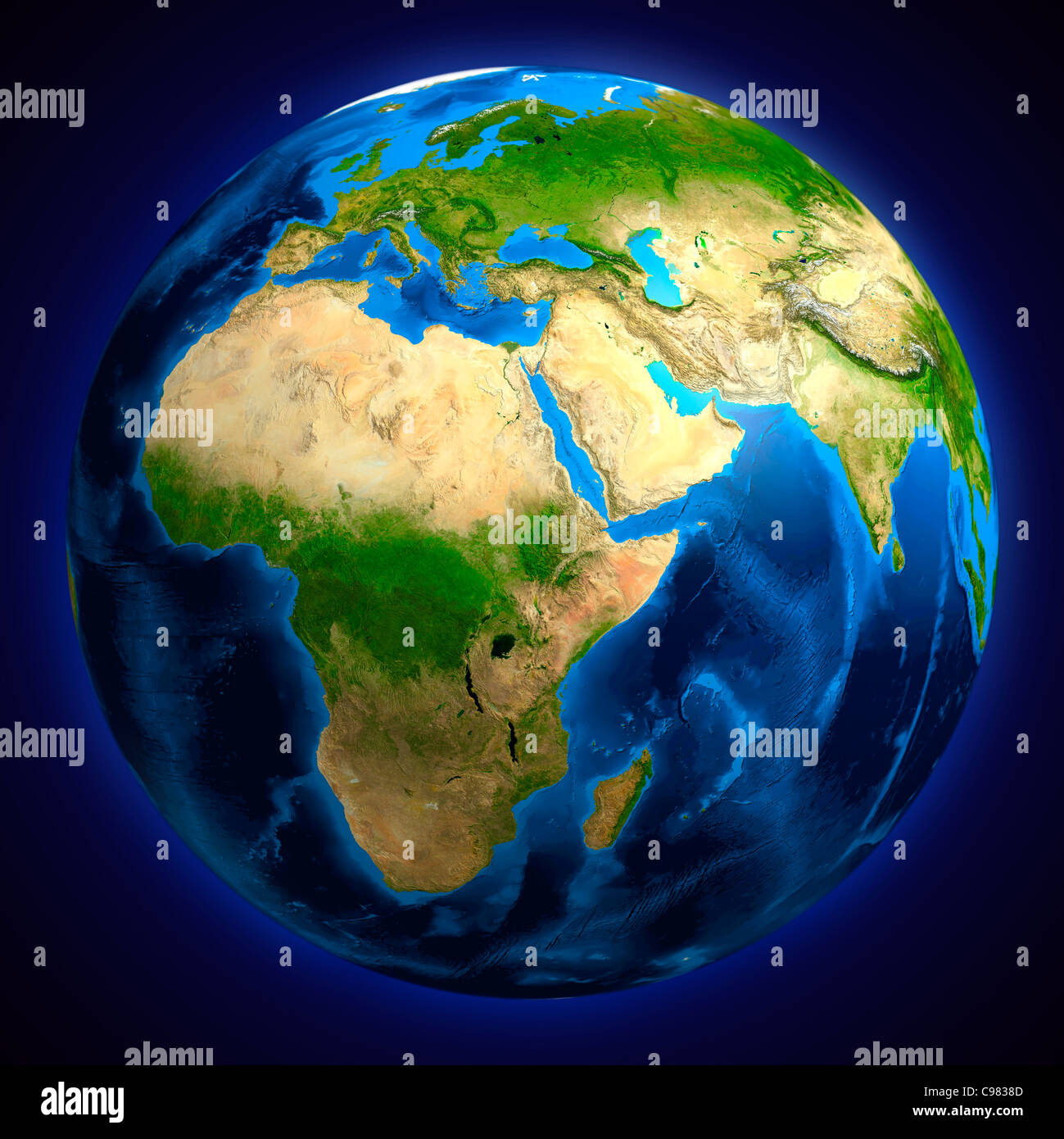 View of the Earth globe from space showing African, European and Asian continents. Isolated on dark blue background. - Stock Image