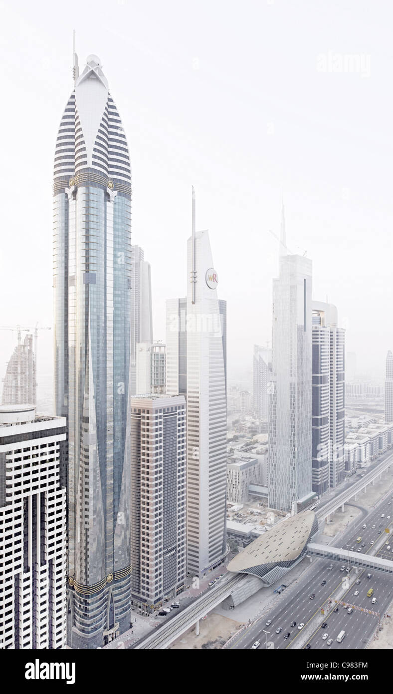 Modern architecture, high-rise buildings, Sheikh Zayed Road, Downtown Dubai, Dubai, United Arab Emirates, Middle - Stock Image