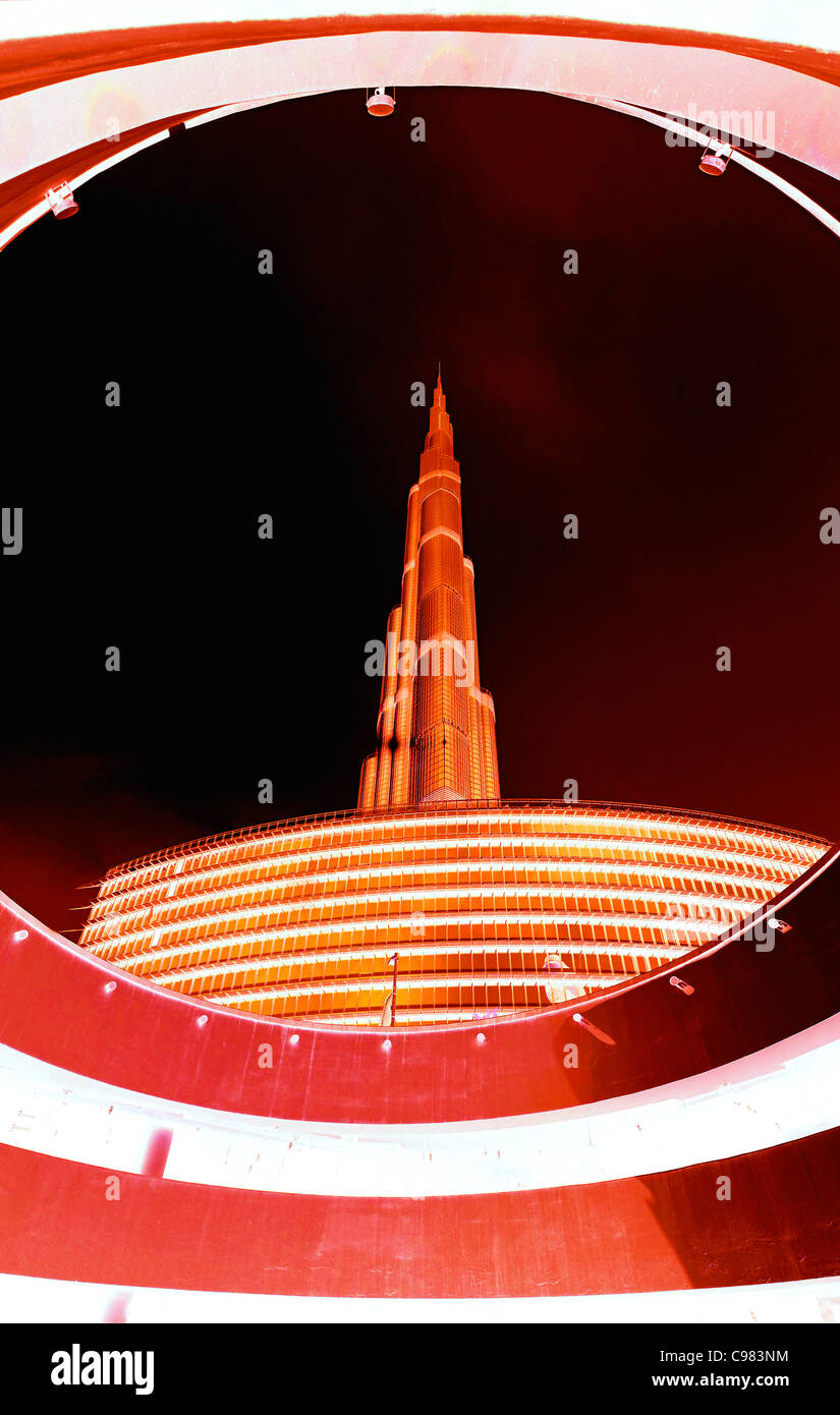 BURJ KHALIFA, BURJ CHALIFA, the tallest tower in the world, 828m height, downtown Dubai, United Arab Emirates, Middle - Stock Image