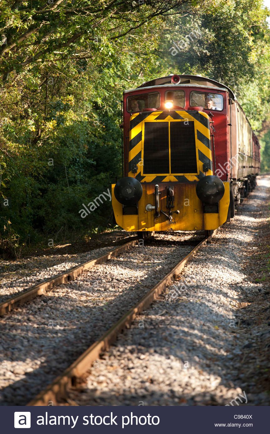 Historic Ruston Hornsby locomotive speeding up on heritage Avon valley railway line (Bath-Bristol) - Stock Image