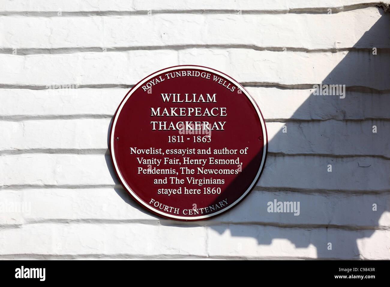 Plaque on house commemorating where novelist William Thackeray stayed in 1860, Royal Tunbridge Wells , Kent , England Stock Photo