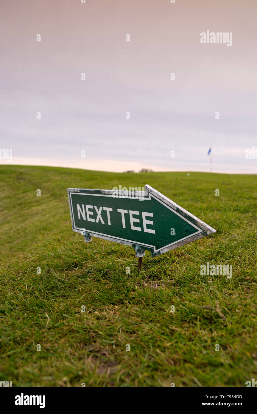 Sign, next tee, golf couse - Stock Image