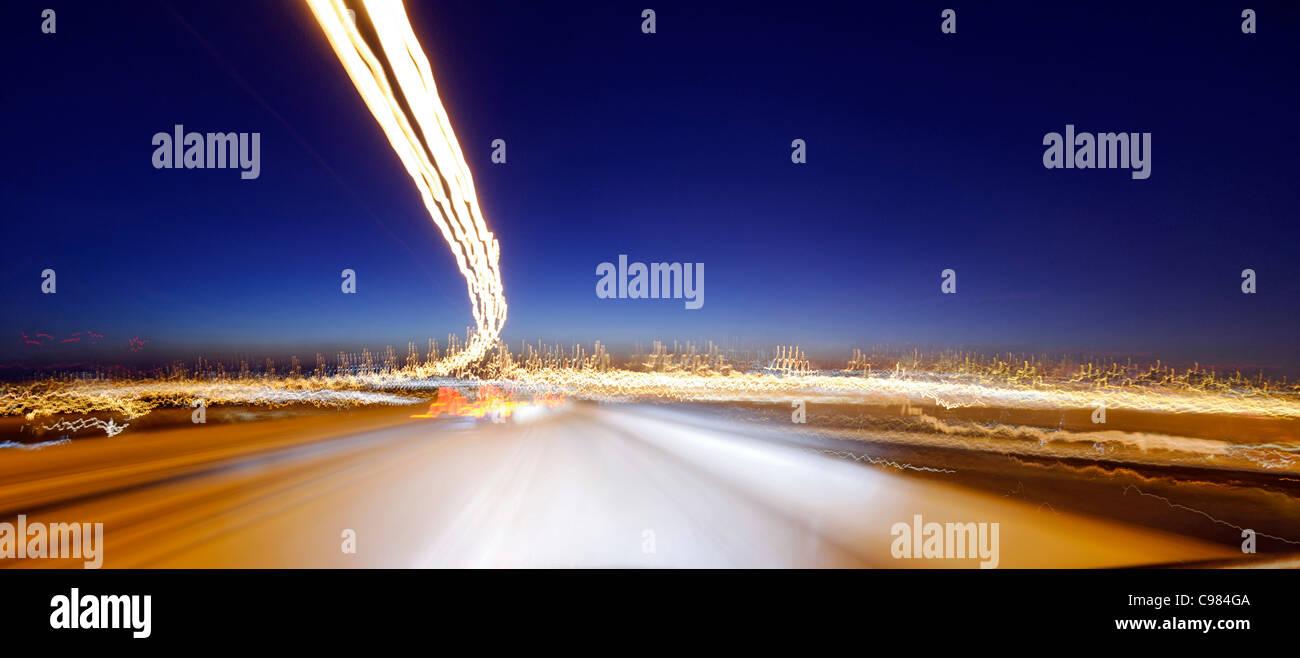 Koehlbrandbruecke bridge, light, light art, dynamics, motion, Waltershof district, Hamburg, Germany, Europe - Stock Image