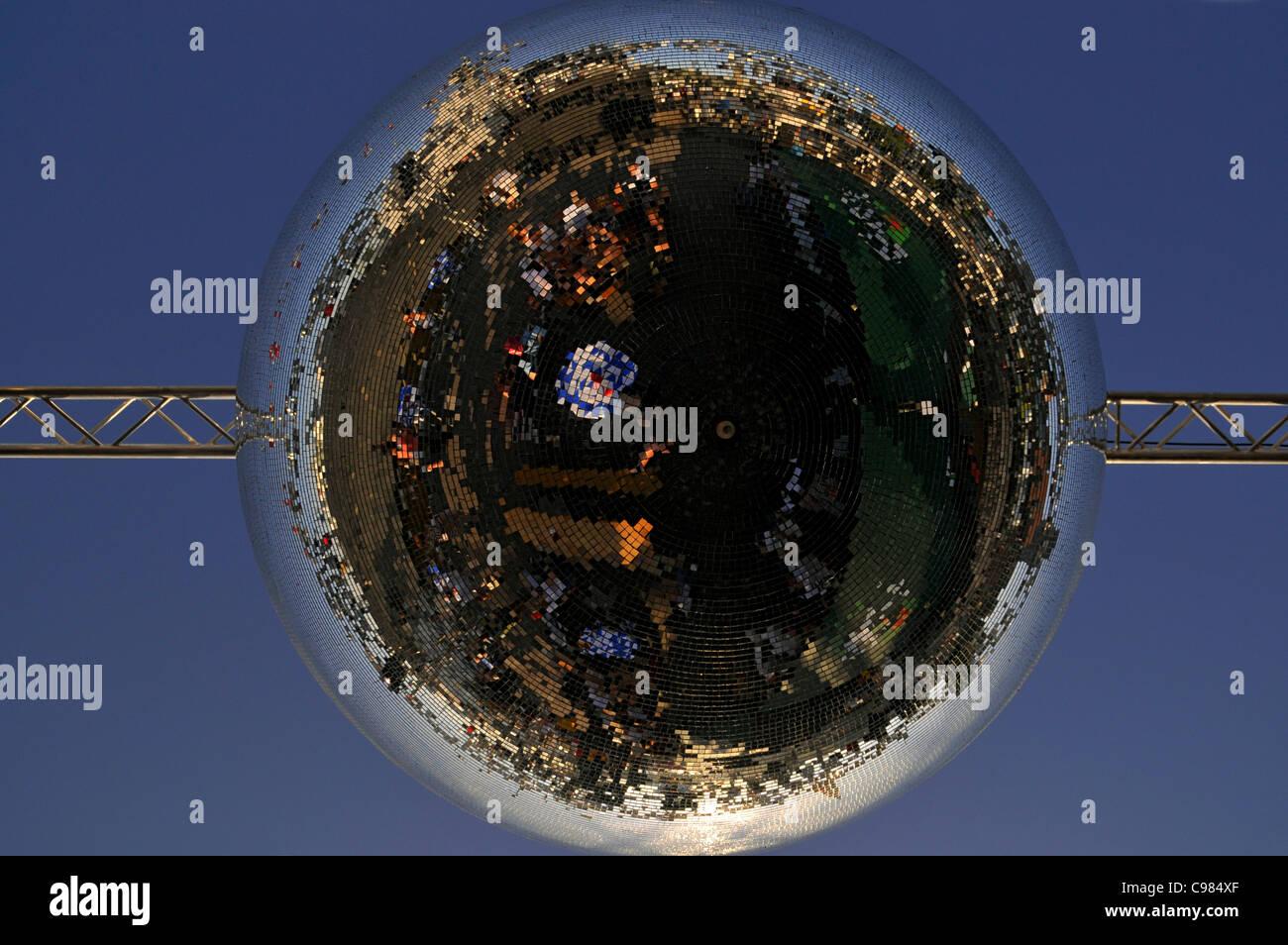 Enormous mirrored disco ball, Port Birthday Celebrations, Port, Hamburg, Germany, Europe - Stock Image