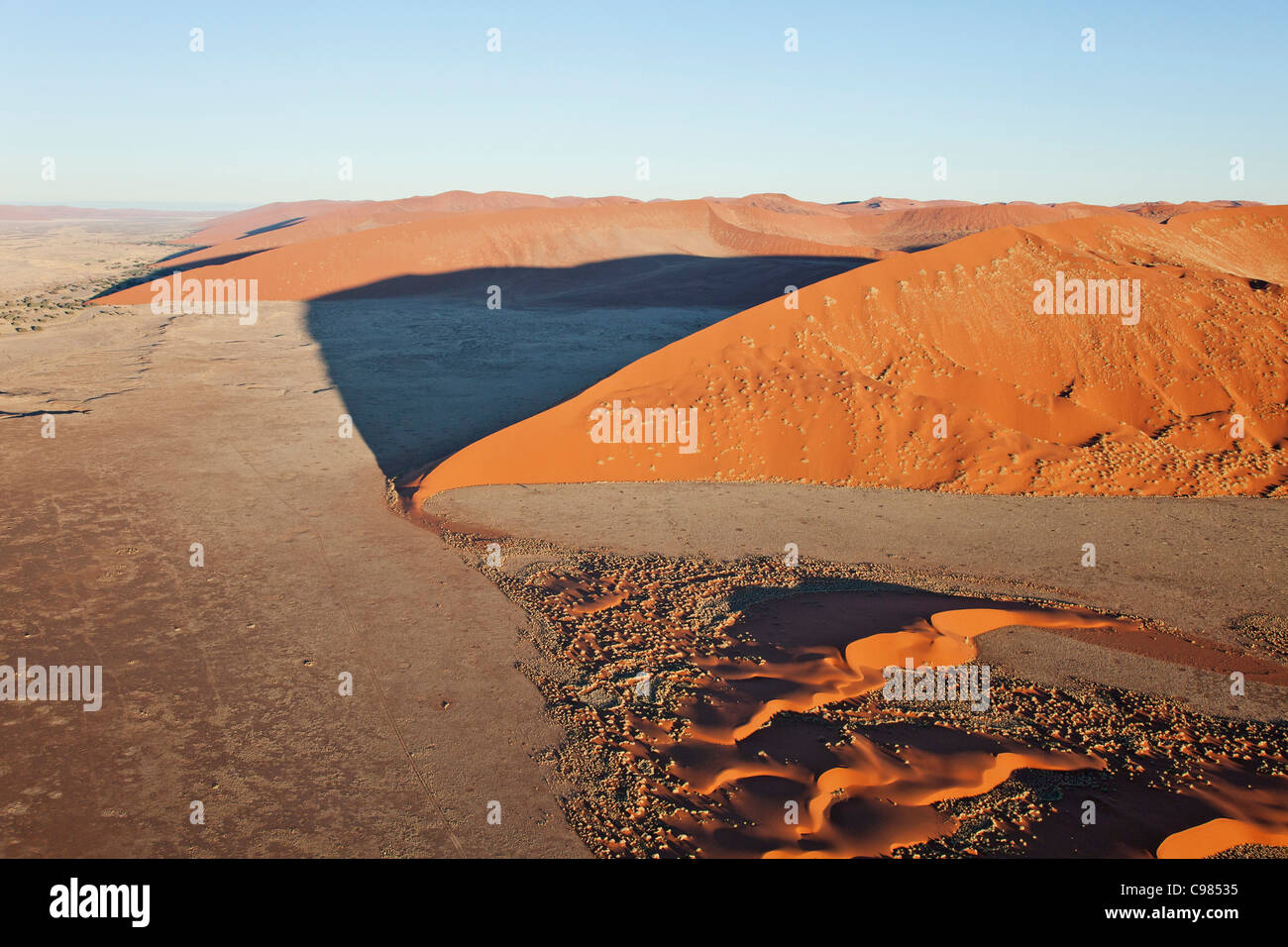 Aerial view of massive sand dunes - Stock Image