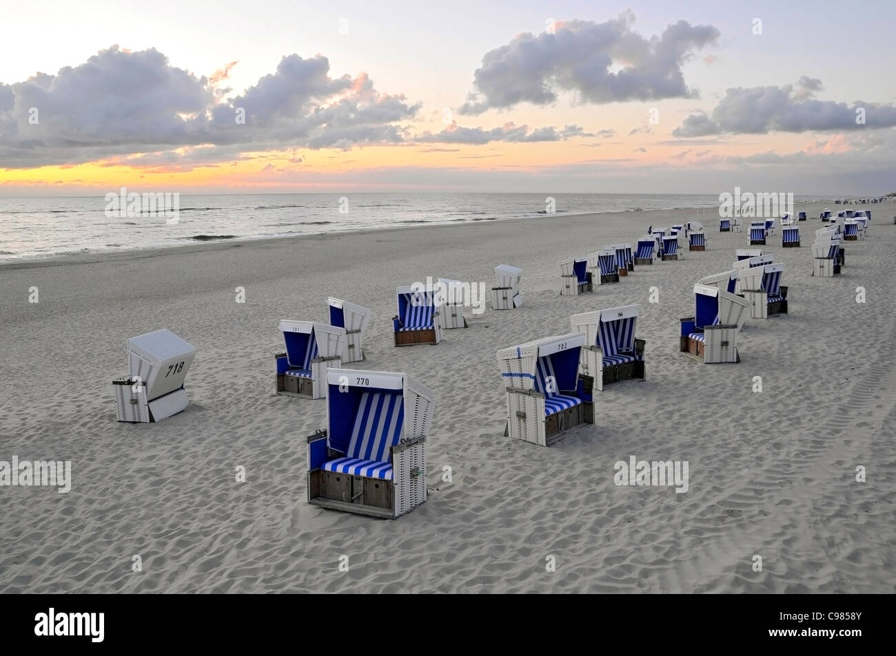 Beach chairs, Westerland, Sylt, North Frisian Islands, Schleswig Holstein, Germany, Europe Stock Photo