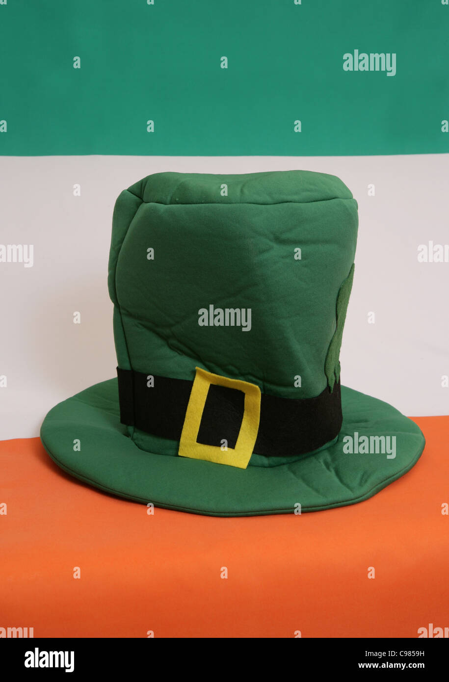 e6ff75674d4aa St patricks day hat on and irish flag Stock Photo  40132445 - Alamy