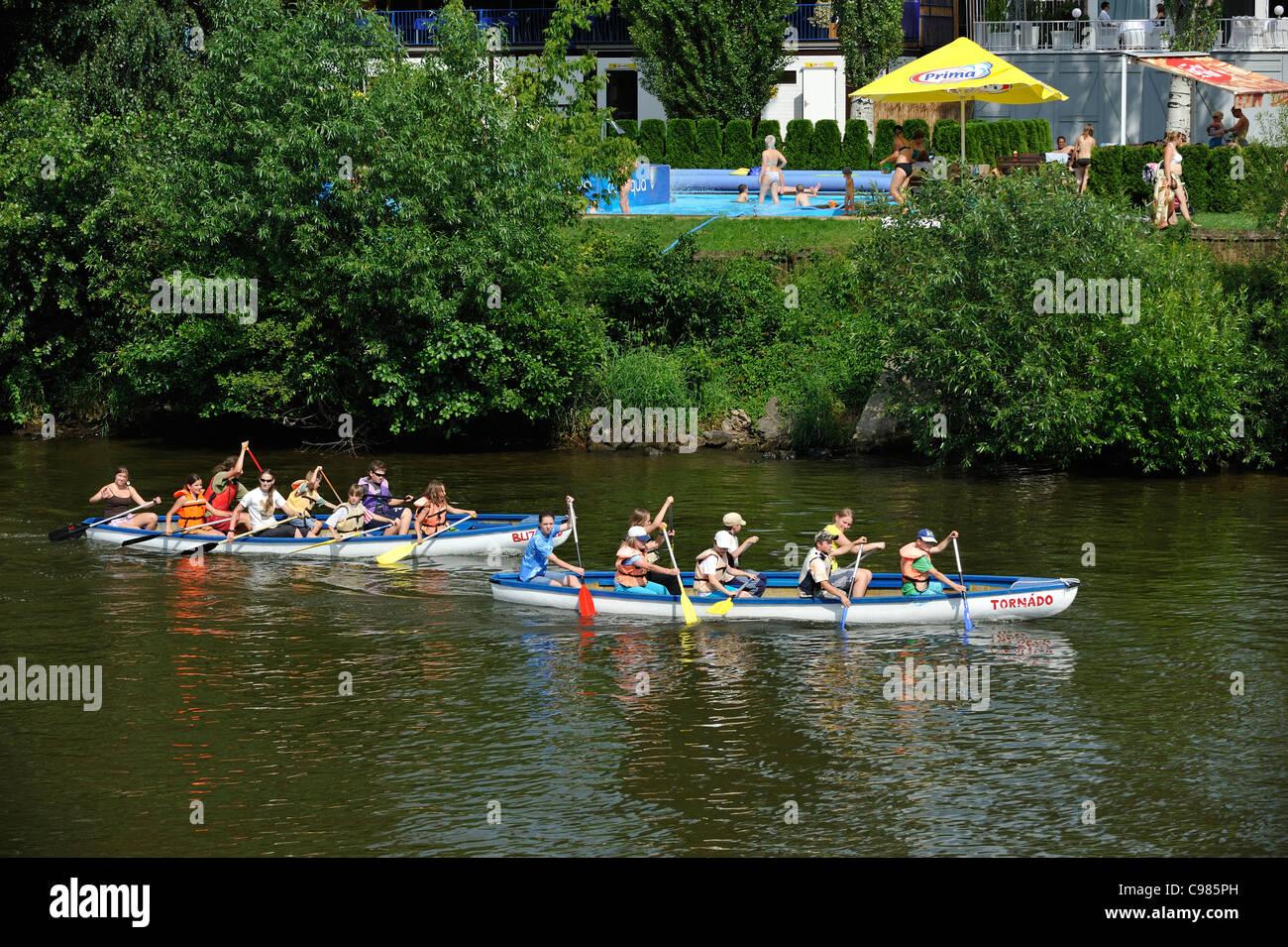 Boating canoe class, riverside recreational club River Vltava Podoli Prague Czech Republic - Stock Image