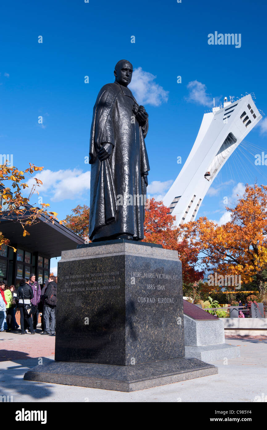 Statue Of Brother Marie Victorin, Founder Of The Montreal Botanical Garden.    Stock