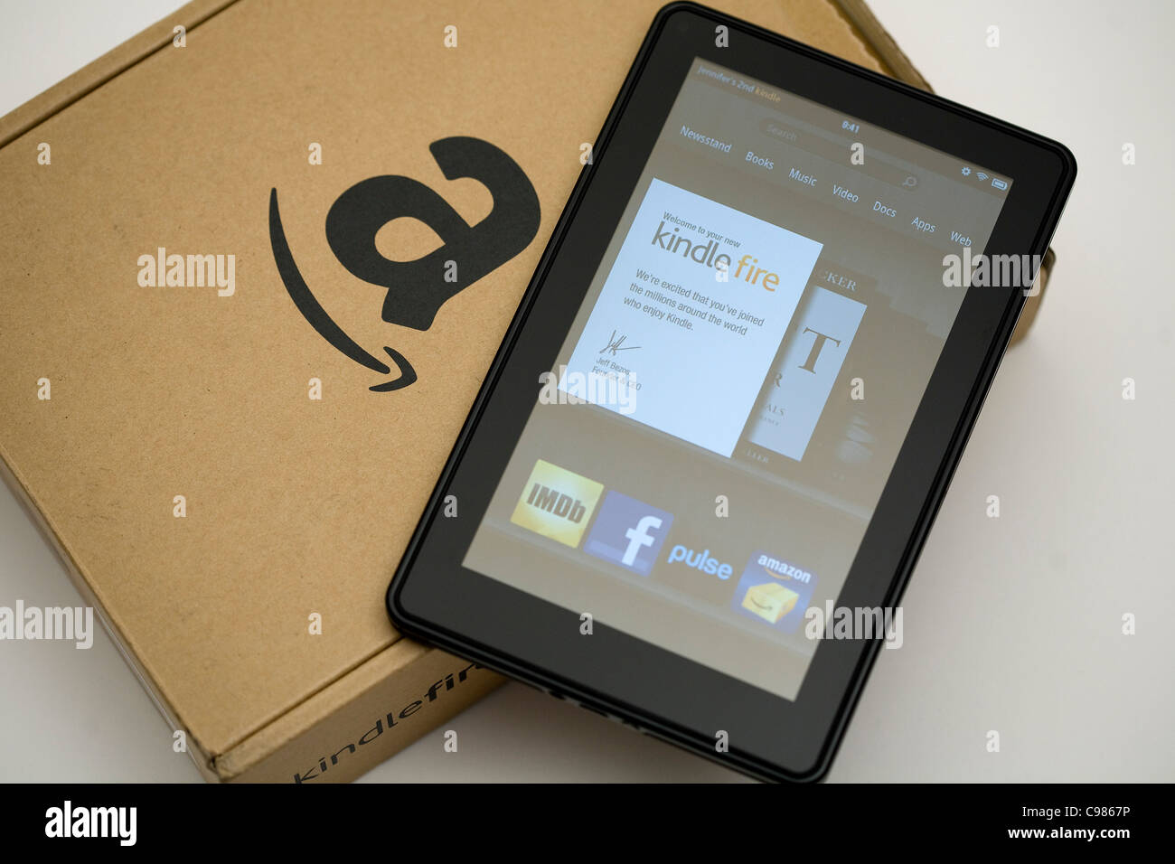 The Amazon.com Kindle Fire tablet computer.  - Stock Image