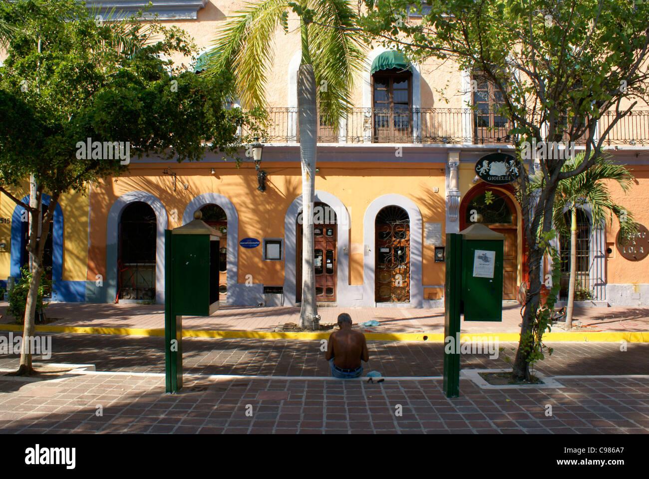 Restored nineteenth century buildings on the Plazuela Machado in Old Mazatlan, Sinaloa, Mexico - Stock Image