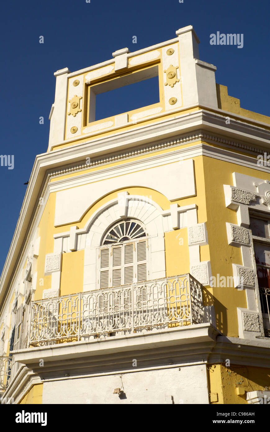 Facade of restored nineteenth century building in Old Mazatlan, Sinaloa, Mexico - Stock Image