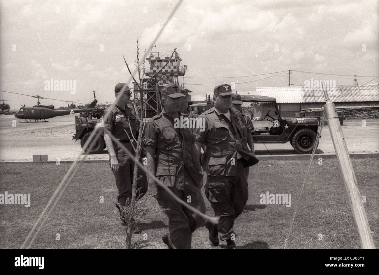 Vietnam War helicopter unit basecamp officers of 1st Aviation Brigade control tower huey - Stock Image
