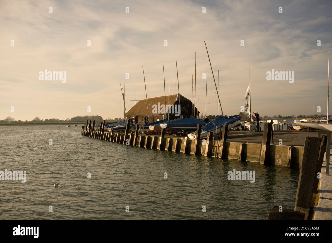 Bosham Quay at Dusk, West Sussex -1 - Stock Image