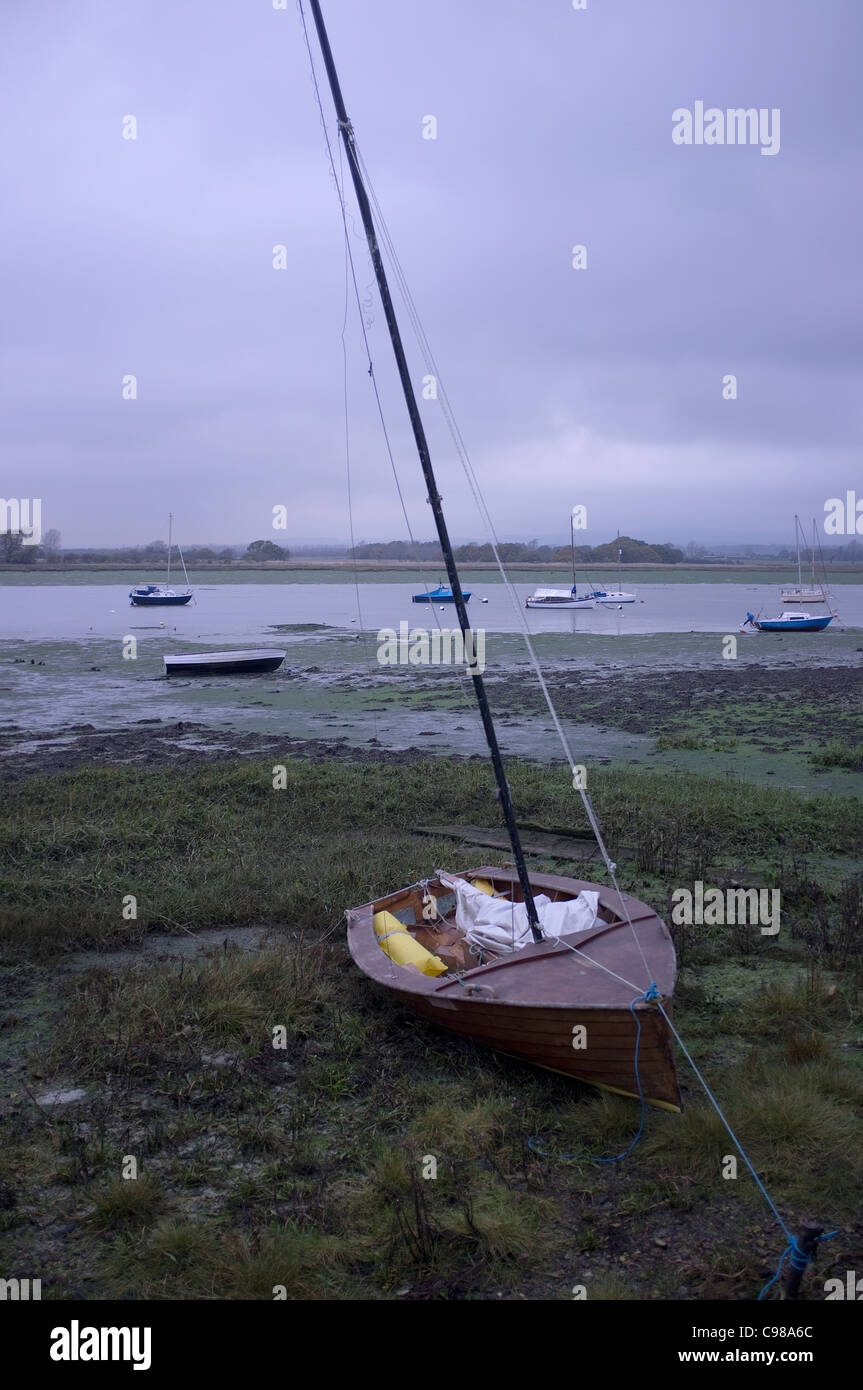 Sailing Boat Beached at Dell Quay, West Sussex -1 - Stock Image