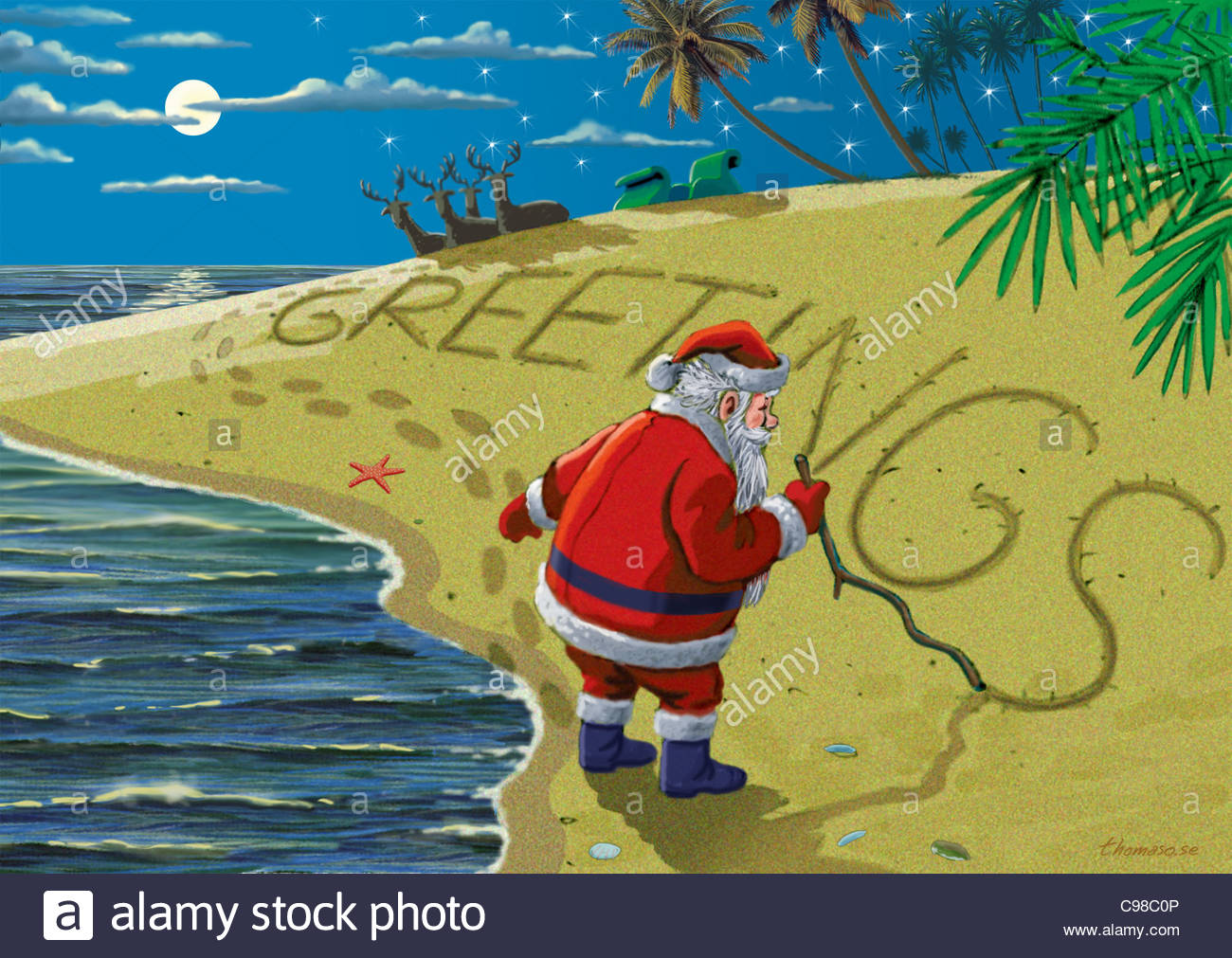 Weihnachtswnsche On Beach Christmas Card Christmas Cards Stock Photo