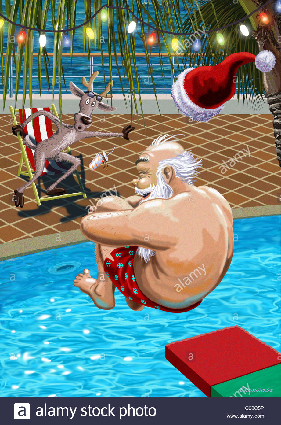 Santa Claus Jumps In The Pool Santa Claus Weihnachtsmaenner Santa Stock Photo 40137826 Alamy