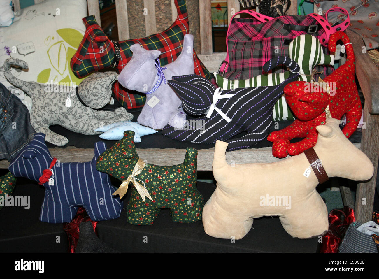Arts And Craft Stall With Stuffed Toy Highland Terriers - Stock Image