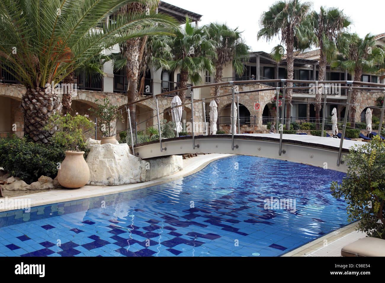 Columbia Beach Resort Swimming poll, Pissouri, Cyprus - Stock Image