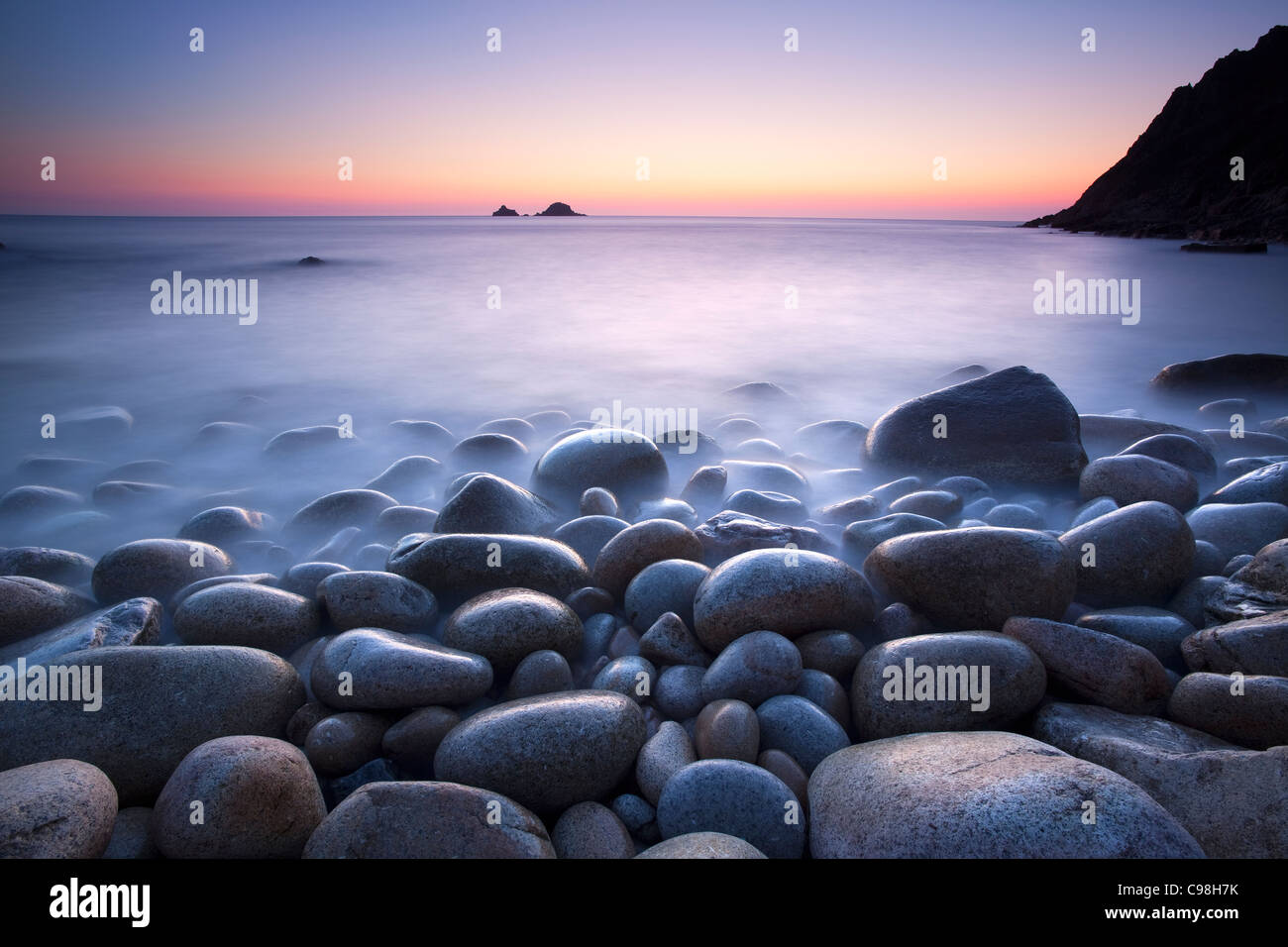 Rocky Bay at Sunset, Cornwall,UK - Stock Image