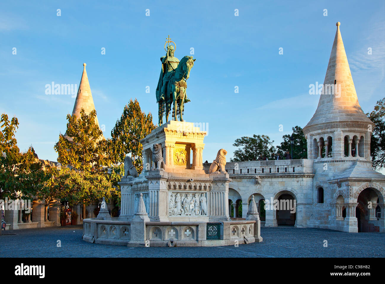 Budapest, Fishermen's Bastion and a statue of Saint Stephen - Stock Image