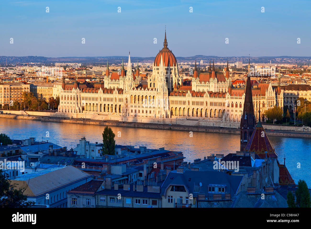 Budapest, Hungarian Parliament Building view from Fishermen's Bastion - Stock Image