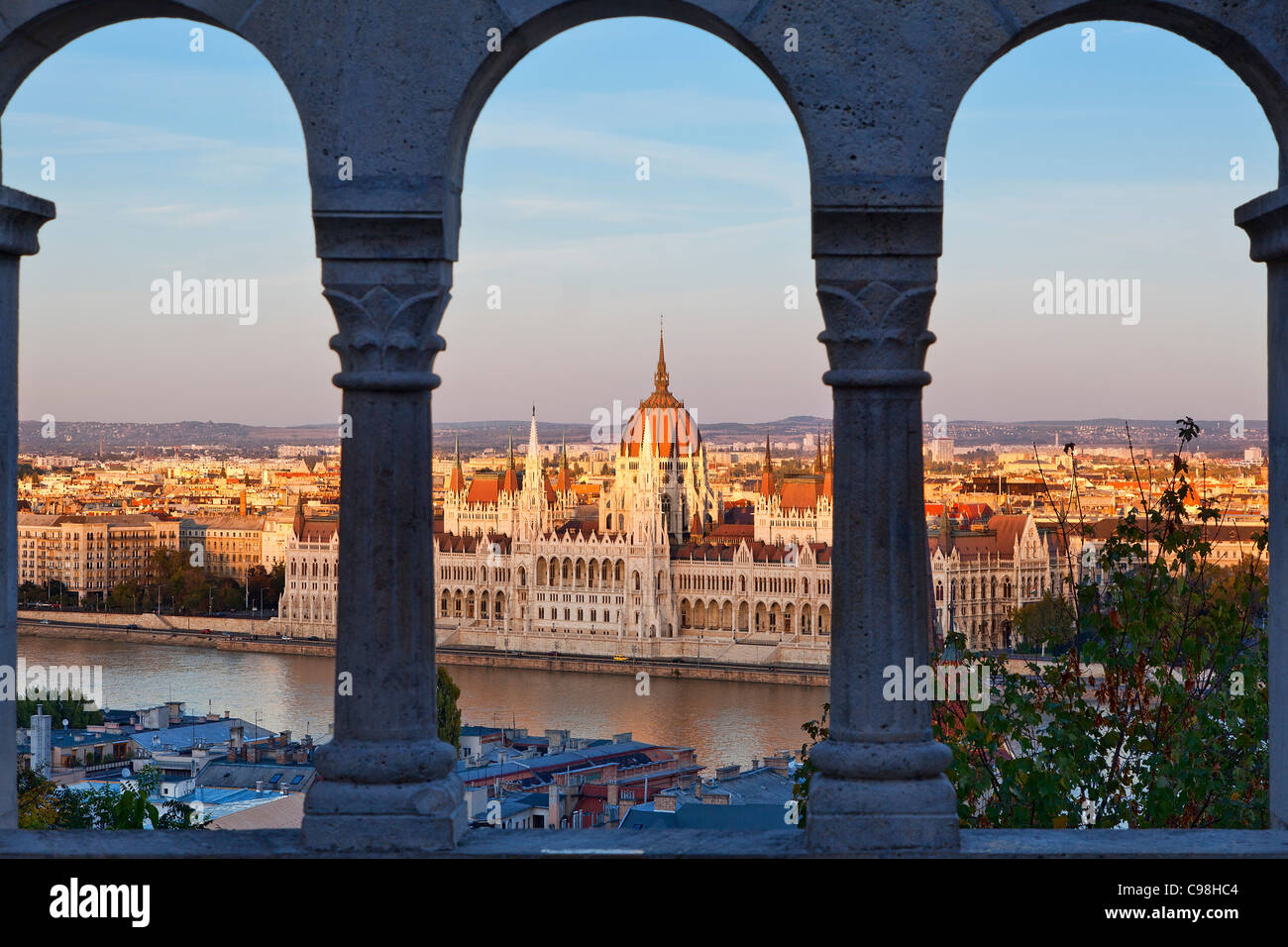 Hungarian Parliament Building view from Fishermen's Bastion - Stock Image