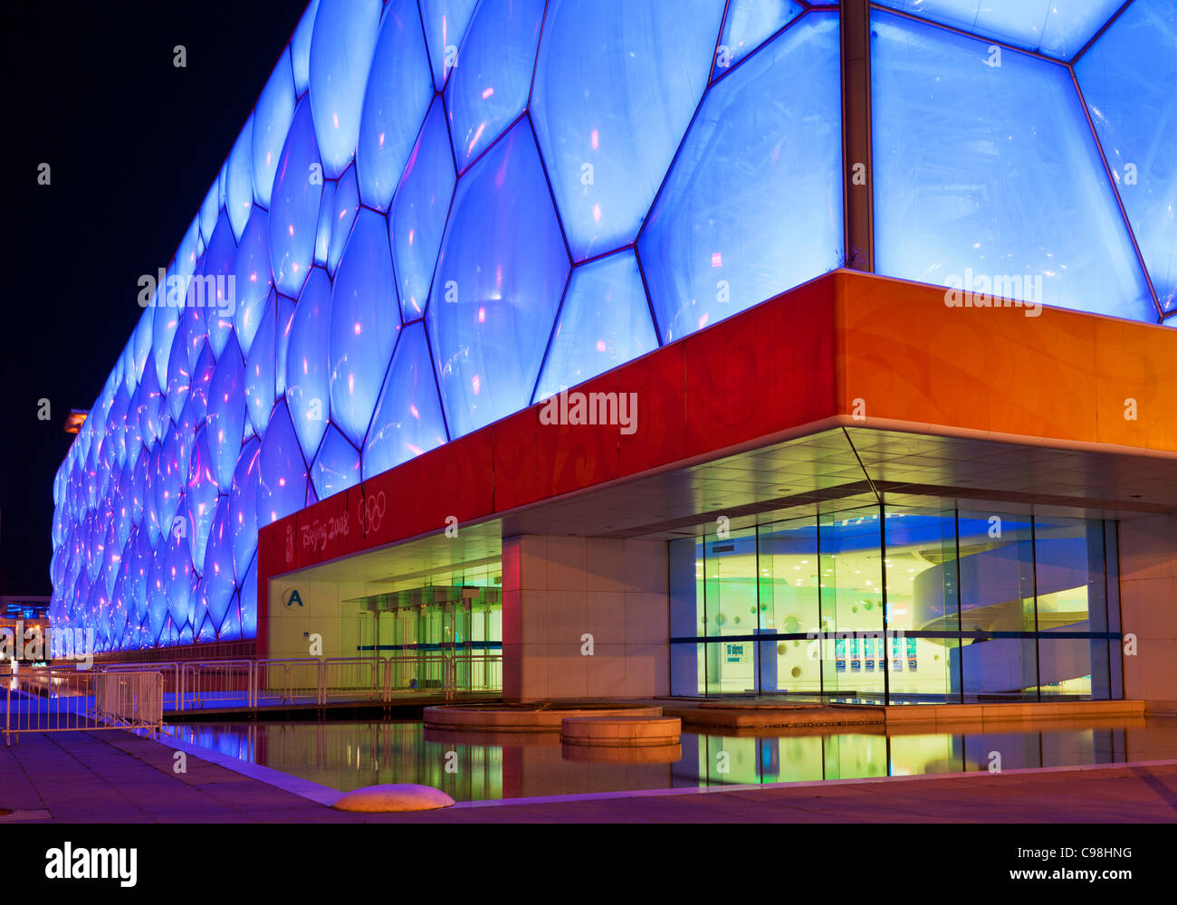 The Water Cube National Aquatics Center swimming arena in the Olympic Park, Beijing, Peoples Republic of China, Stock Photo