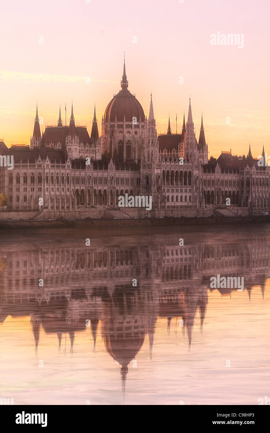 Budapest, Hungarian Parliament Building at Sunrise Stock Photo