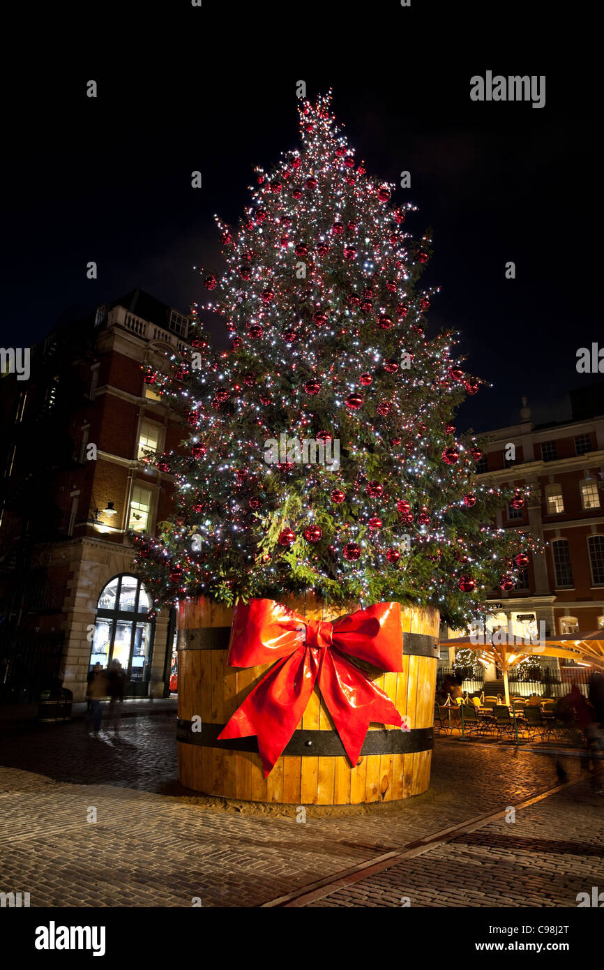 Perfect Giant Christmas Tree Decoration In Covent Garden At Night, London, England,  UK, GB