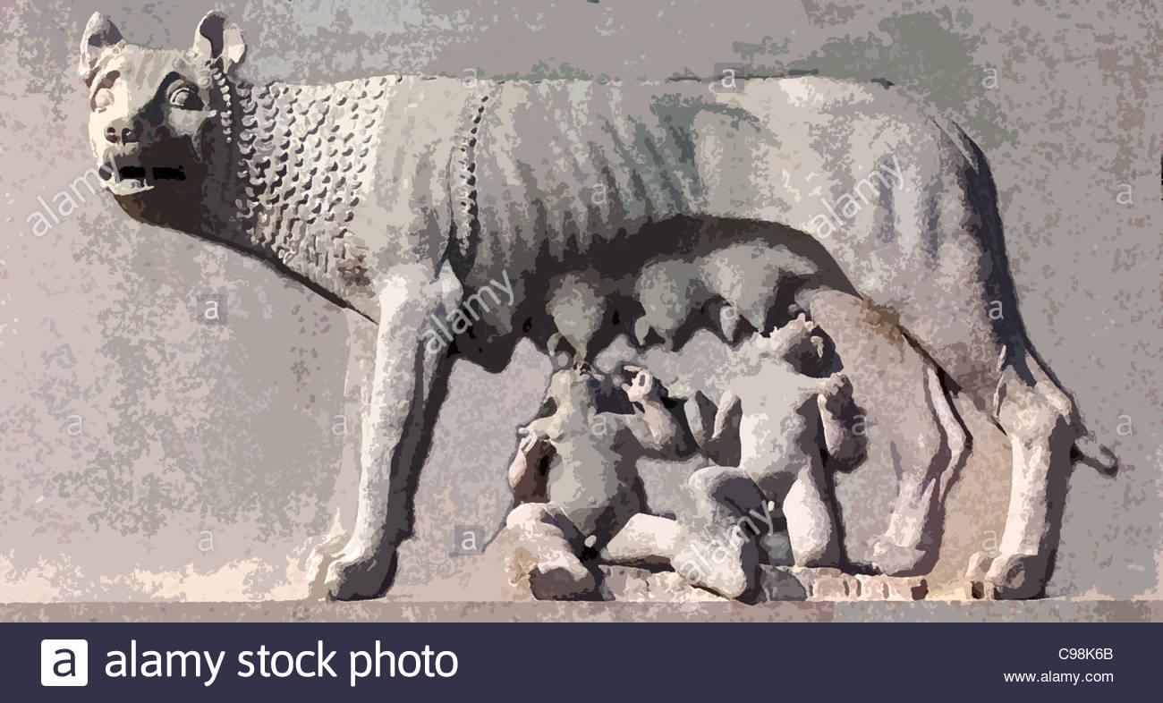 Capitol Wlfin Romulus Remus - Stock Image